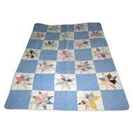 "Vintage Patchwork ""Eight-Pointed Star"" Child's Quilt"
