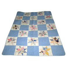 "Vintage Patchwork ""Eight-Pointed Star"" Child's Quilt"