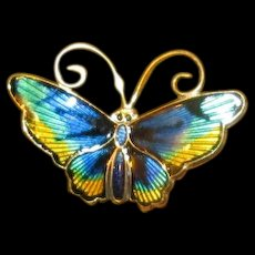 Sterling & Colorful Enamel D-A Butterfly Pin
