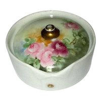 German Porcelain Hand-Decorated Collar Button Box