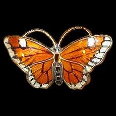 Norway Sterling & Guilloche Enamel Butterfly Pin