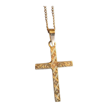 10K Rose Gold Cross Necklace with Engraving