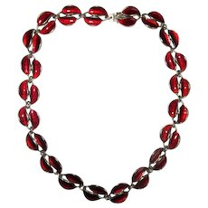 Sterling Silver D-A of Norway Red Enamel Necklace