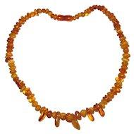 "20"" Polished Amber Bead Necklace"