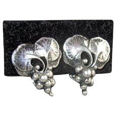 Vintage Sterling Georg Jensen Grape Cluster Earrings