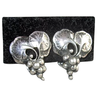Vintage Sterling Georg Jensen Grape Cluster Earrings