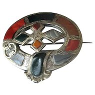 Antique Silver Scottish Pebble Pin