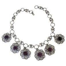 Vintage Mexican Silver Link Necklace with Amethyst Pendants