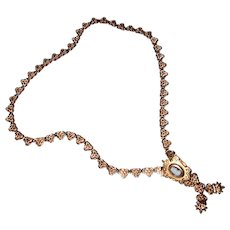 Victorian Gold-Filled Book-Chain Necklace with Stone Cameo