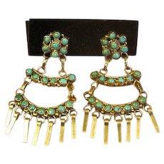 Sterling & Turquoise Zuni Chandelier Screw-Back Earrings