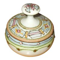 Hand-Decorated Nippon Porcelain Collar Button Box