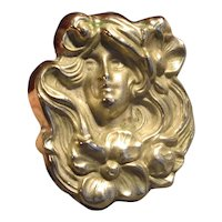 Antique Art Nouveau Lady Pin