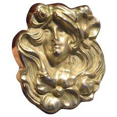 Antique Art Nouveau Lady Pin