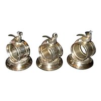 3-Piece Victorian Silver-Plate Peacock Napkin Ring Set