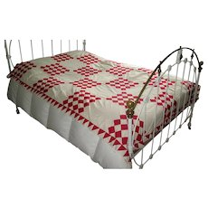 """Red & White """"Sixteen Patch"""" Quilt Top"""