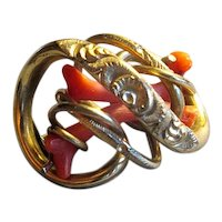 Victorian Gold-Filled Love-Knot Brooch with Branch Coral
