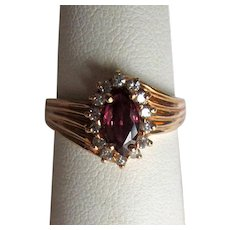 14K Gold Ladies' Ring with Marquis-Cut Ruby and Diamonds