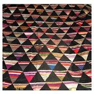 "Hand-Pieced Silk and Velvet ""Pyramids"" Quilt Top"