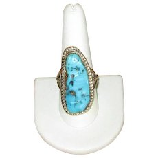 Signed Native American Silver and Turquoise Ring