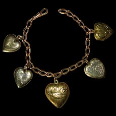 Vintage Gold-Filled Watch Chain Bracelet with Lockets