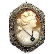 14K White Gold Cameo Pin/Pendant with Diamond