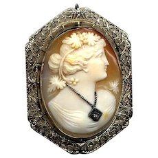 14K White Gold Cameo Pin/Pendant with Diamond