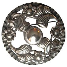 Vintage Mexican Silver Pin with Floral Design