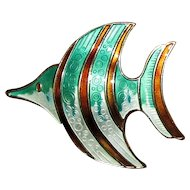 D-A David Andersen of Norway Guilloche Enamel Fish Pin