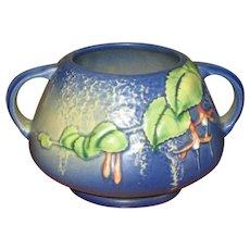 """Roseville Art Pottery Blue """"Fuchsia"""" Handled Vase"""