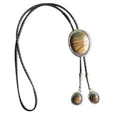 Native American Navaho Silver & Picture Jasper Bolo Tie
