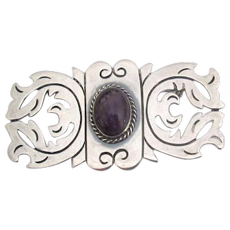 Vintage Mexican Silver Pin with Amethyst