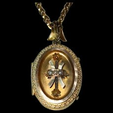 Victorian Gold-Filled Locket with Pearls