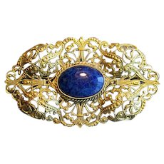 Fancy Brass Pin or Brooch with Blue Stone