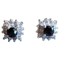 14K White Gold Stud Earrings with Sapphires and Diamonds