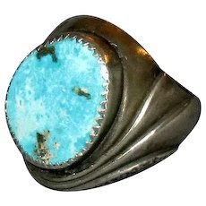 Native American Turquoise and Silver Mens' Ring