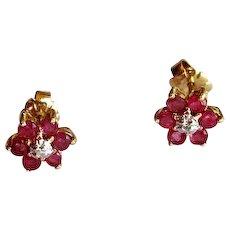 14K Ruby & Diamond Post Earrings