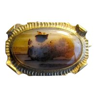 Vintage Moss Agate Costume Pin