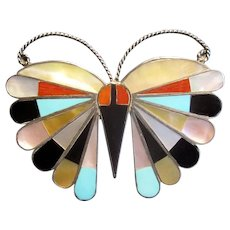 Native American Silver Inlaid Butterfly Pin/Pendant