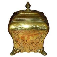 Antique Victorian Engraved Brass Tea Caddy