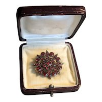 Gold-Filled Victorian Garnet Pin with Original Box