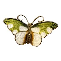 Norway Sterling & Enamel Green and White Butterfly Pin