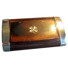 Wooden Snuff Box with Four Leaf Clover or Shamrock