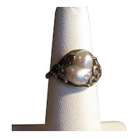Art Nouveau Silver Ring with Baroque Pearl