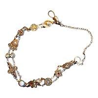 Gold-Filled Chain Bracelet with Eleven Slides
