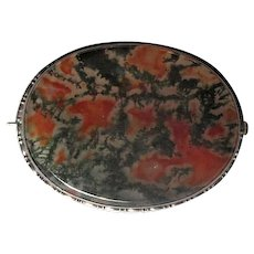 Antique Sterling Silver Pin with Translucent Moss Agate