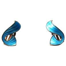 Norway Sterling and Aqua Enamel Clip Earrings