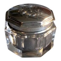 Crystal Vanity Jar with Sterling Silver Top