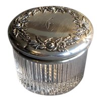 Small Crystal Vanity Jar with Sterling Silver Top