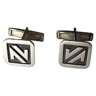 Vintage Mexican Sterling Niello Cuff Links