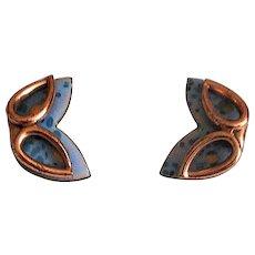 Matisse Copper & Enamel Mask Clip Earrings